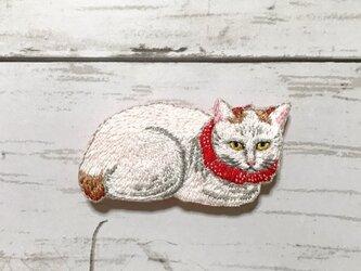 手刺繍浮世絵ブローチ*高橋松亭「白猫」の画像