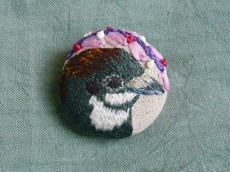 刺繍   ヒメウズラ  ブローチ 鳥の画像