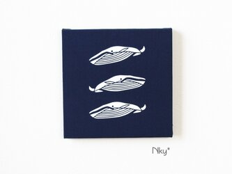 シロナガスクジラ3のファブリックパネル M-301◆ネイビー/白の画像