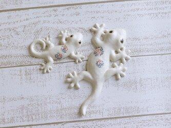 家守(ヤモリ)壁飾りセット おもてなし 青の小花の画像