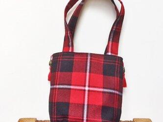 タータンチェックのタッセル付きお散歩バッグ【Cunninghum】の画像