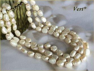 《受注品》【Vermeil】ホワイト縦長バロック淡水パールグリフィン(ベージュ)ロングネックレス(120)の画像