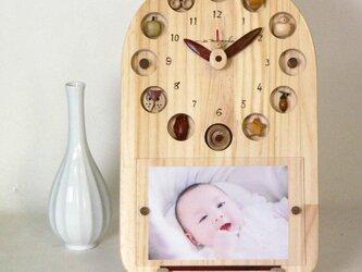 サークル25cm時計&フレーム(磁石で固定する額)*最大2Lサイズが飾れますの画像