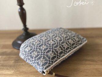 [再販]pouch[手織りポーチ] グレー×シルバーベージュの画像
