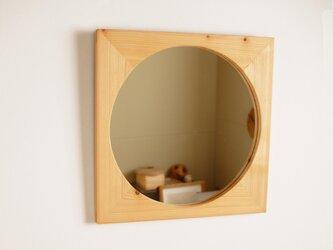 木製 鏡「四角に丸」ヒノキ材5 ミラーの画像