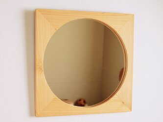 木製 鏡「四角に丸」ヒノキ材7 ミラーの画像