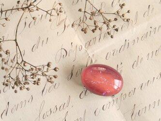 チェコ製ガラス《ドラゴンブレス》の帯留/オーバル◎ピンク【送料無料】の画像