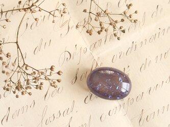 チェコ製ガラス《ドラゴンブレス》の帯留/オーバル◎モーヴ【送料無料】の画像