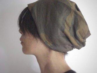 ターバンな帽子 カモフラージュ+黒 送料無料の画像