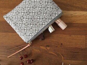 [再販]pouch[手織りミニポーチ]グレーの画像