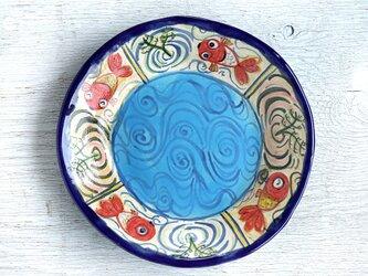 楽し気な金魚絵の丸い深皿(ブルー)の画像
