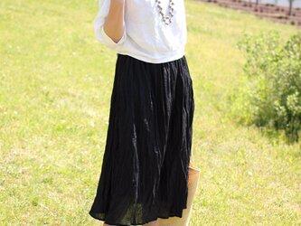 クリンクルコットンギャザースカート【ブラック】の画像