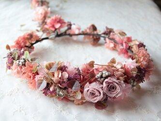 アンティークピンクの花冠◆プリザーブドフラワー◆ウェディングの画像