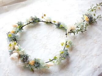 アンティークブルー&ホワイトの花冠◆プリザーブドフラワー◆ウェディングの画像