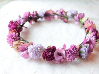 花かんむり ピンク&パープルのグラデーション花冠の画像