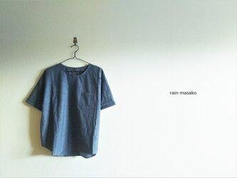 綿麻ダンガリーの布帛Tシャツ*LLサイズの画像