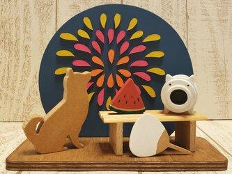 夕涼み☆花火と柴犬の置物☆蚊遣り豚☆スイカ☆団扇☆動物・犬種の変更も色変更も可能!の画像