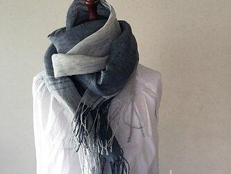 shawl[手織りリネンショール] ネイビー×グレーの画像