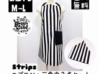 エプロンと三角巾のセット lady's M〜Lサイズ エプロン  三角巾 料理 仕事 送料無料 ストライプの画像