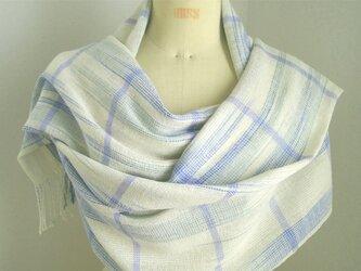 手織り 段染め糸(白、ブルー、グリーン)の広巾ショールの画像