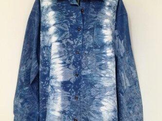 藍染 シャツ・ブラウス コットン100% L no.3の画像