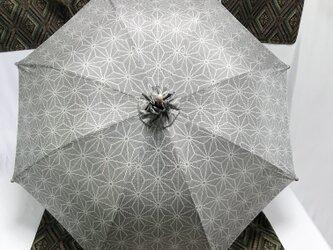 日傘 de 後染め大島紬 麻の葉の画像