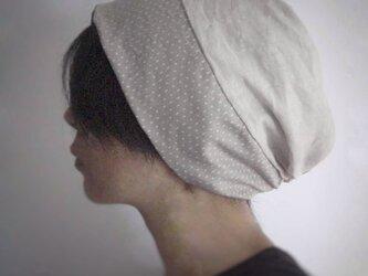 ターバンな帽子 ナチュラル+チャコール 送料無料の画像