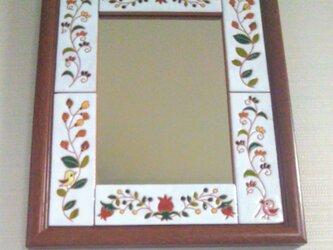 鏡 壁掛け自立 スペインタイルの画像