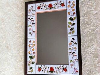 小鳥の鏡 ウォールミラー スペインタイルの画像
