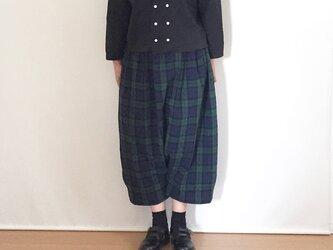 【受注制作】ワイドなバルーンパンツ ブラックウォッチ コットンリネンの画像