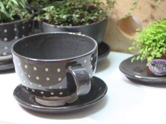 コーヒーカップ型植木鉢(中)(受け皿付き)   J622の画像