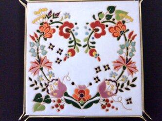 ポットスタンド 鍋敷き ハートの花リース スペインタイルの画像