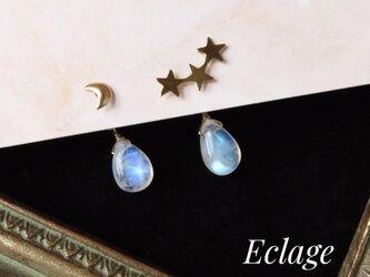 〈2way〉月と星とレインボームーンストーンのピアスの画像