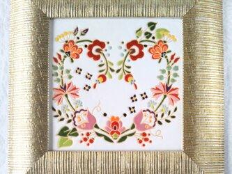 額 ハートの花リース スペインタイルの画像