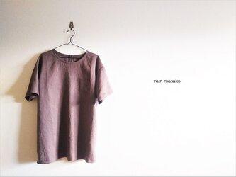 アッシュワインリネンの布帛Tシャツチュニック*LLサイズの画像