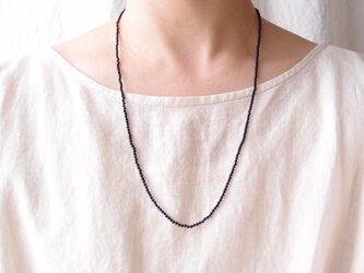 送料無料【受注制作・silver】オニキスプレーンネックレス【60cm/2mm】 black onyxの画像