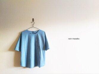 空色綿麻ダンガリーの布帛Tシャツ*LLサイズ*の画像