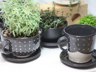 マグカップ型植木鉢(受け皿付き)   J624の画像