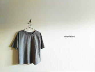 ライトグレー綿麻ダンガリーの布帛Tシャツ*LLサイズ*の画像