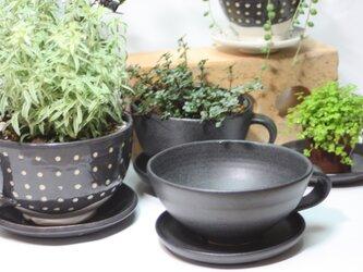 コーヒーカップ型植木鉢(大)(受け皿付き)   J627の画像