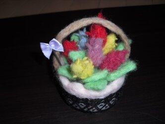 毛糸で作ったケイトウcup♪ ** 羊毛フェルト **の画像
