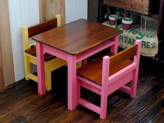 ★ローズピンクとチークカラーローテーブル+パタパタミニベンチ2脚セットの画像