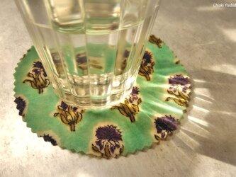 エコラップ マルS:ミント×パープル 花 <インド綿コットン100%  ブロックプリント みつろうラップ>の画像