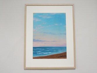 パステル画 海・ある日の夕暮れの画像
