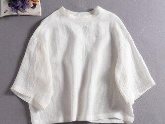 リネン100%ドロップスリーブ七分袖ブラウスゆったり ホワイト190702-1の画像