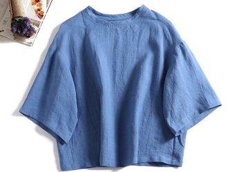 リネン100%ドロップスリーブ七分袖ブラウスゆったり ブルー 190702-2の画像