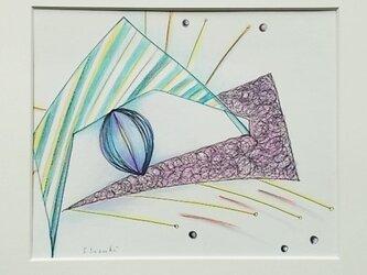 絵画インテリア 額絵 ペンと色鉛筆のコラボ画 夢の中の画像