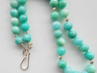 鮮やかブルーグリーン アマゾナイトのネックレスの画像