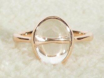 約10×7mmヒマラヤ水晶とSV925の指輪(サイズ:10号、K18ピンクゴールドの厚メッキ加工、ふくりん、クォーツ)の画像