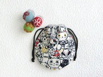 ミニ巾着 招き猫 招福 生成り生地 御守り 小物収納 プレゼントにも の画像